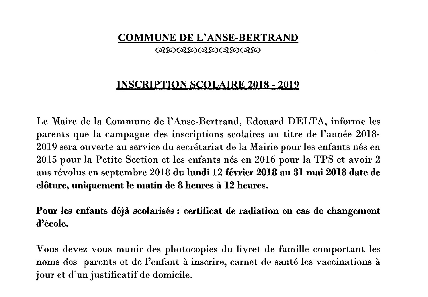 INSCRIPTION SCOLAIRE 2018/2019