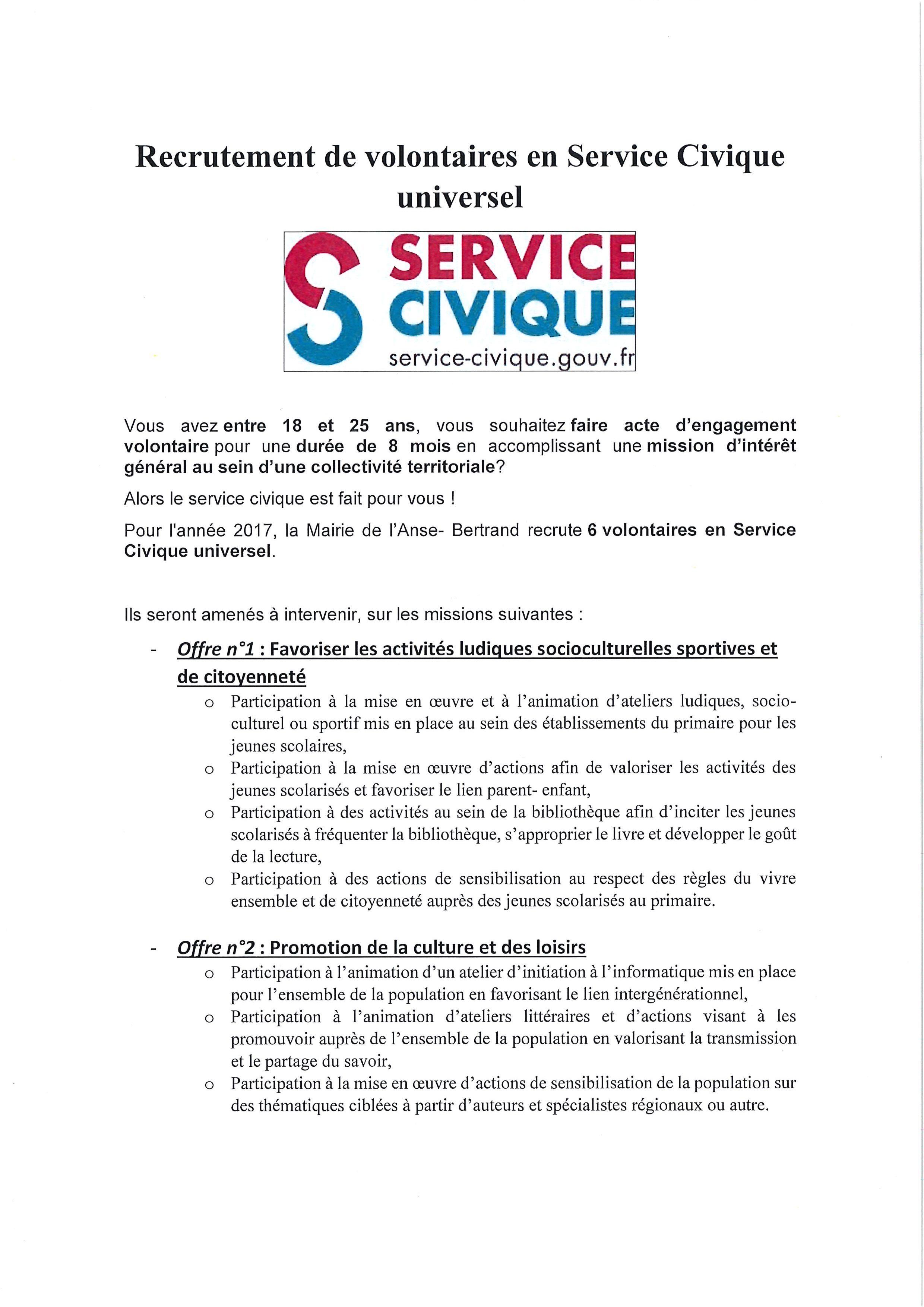 recrutement de volontaires en service civique universel